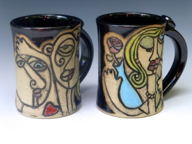 Beauty and Beast- Contemporary Wheel Thrown Hand Carved Mugs