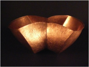 "Siamese Copper Bowl- 14"" x 8"" x 7"""