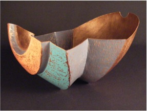 "Orange Blue Vessel- 18"" x 12"" x 12"""
