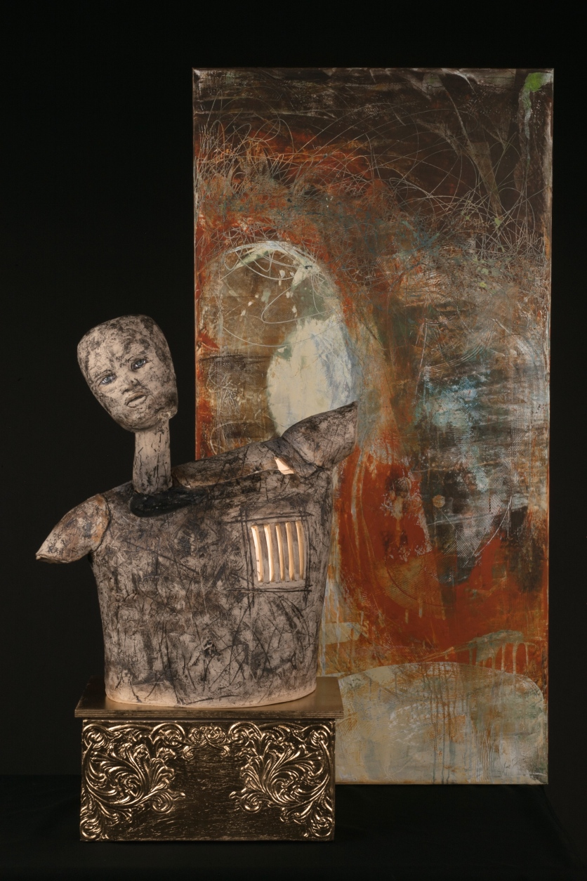 """Interior Cell""- Clay, Oil, Cold Wax, Wood 34"" x 47"" x11"""